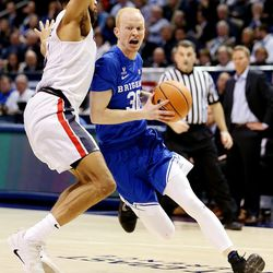 Brigham Young Cougars guard TJ Haws (30) tries to drive on Gonzaga Bulldogs guard Silas Melson (0) as BYU and Gonzaga play in an NCAA basketball game in the Marriott Center in Provo on Saturday, Feb. 24, 2018.