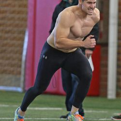 Utah's Jake Murphy performs a speed drill as NFL hopefuls work out for pro scouts during Utah pro football day at the University of Utah Wednesday, March 19, 2014, in Salt Lake City.