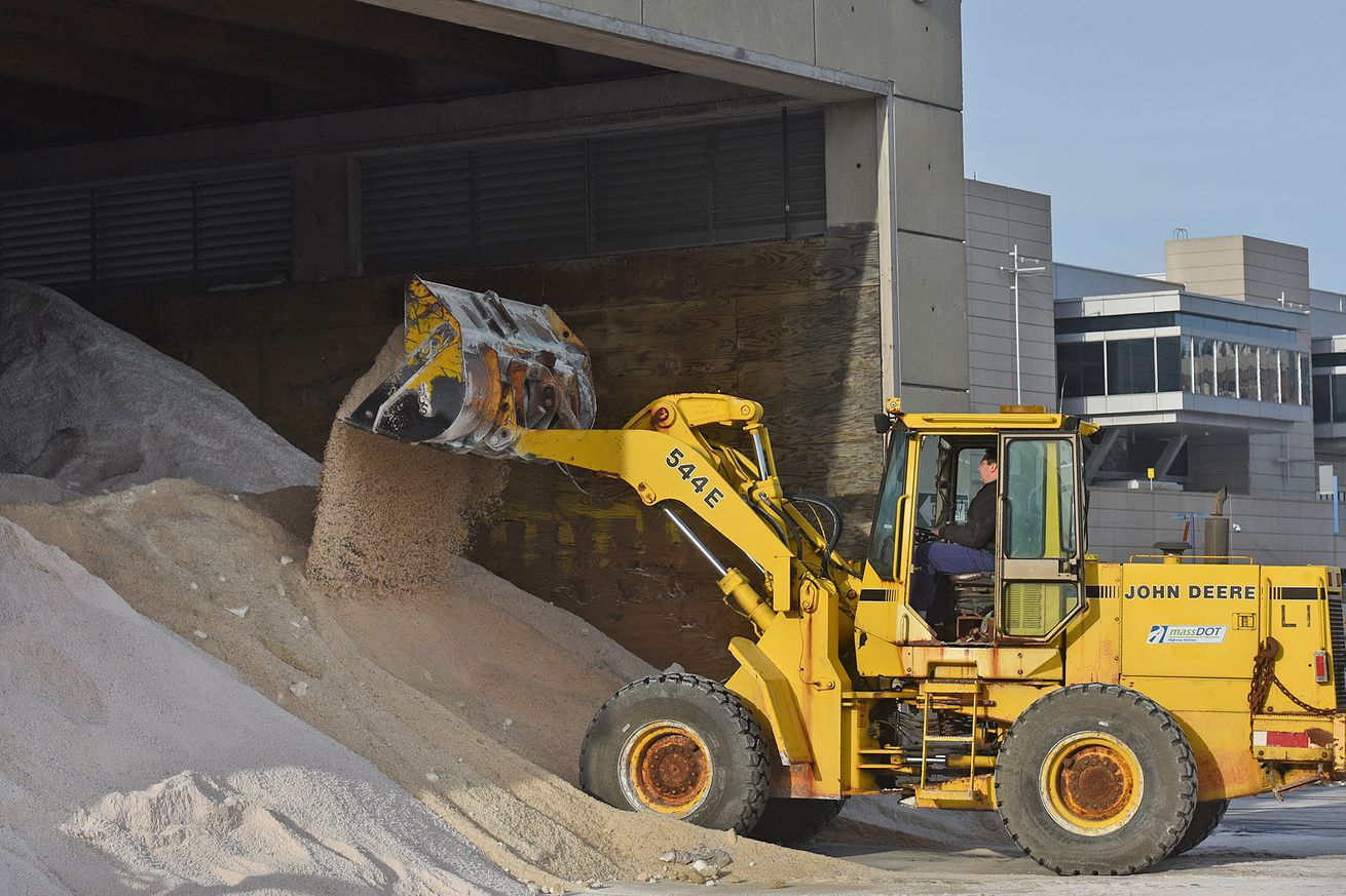 (Boston, MA) - Tony Sousa a mechanic at The Mass DOT Central Maintenance Facility Satellite in South Boston dumps salt with a front end loader in preparation for the storm on Wednesday, January 3, 2018. Staff Photo by Patrick Whittemore