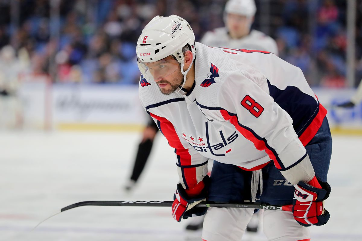 Washington Capitals left wing Alex Ovechkin during a stoppage in play during the third period against the Buffalo Sabres at KeyBank Center.