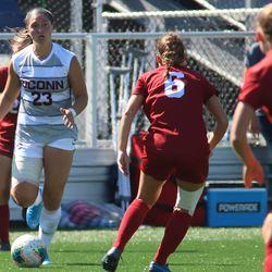 The Harvard Crimson take on the UConn Huskies in a women's college soccer game at Dillon Stadium in Hartford, CT on September 15, 2019.