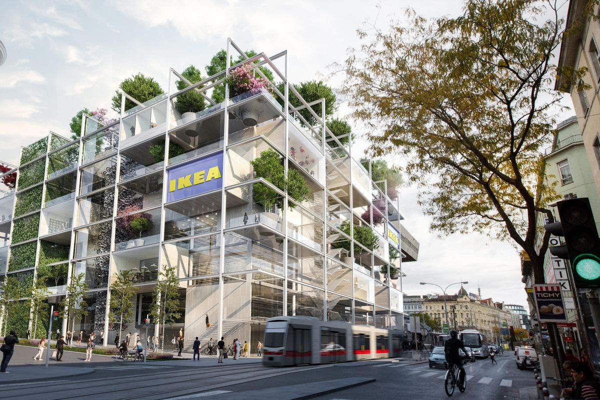Rendering of a building with trees on terraces.