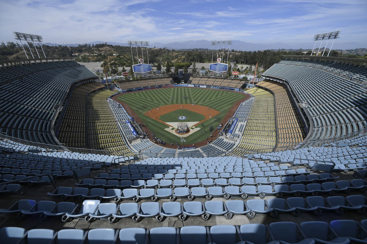 View from the top of the park before the Los Angeles Dodgers play the San Diego Padres at Dodger Stadium on August 3, 2019 in Los Angeles, California.