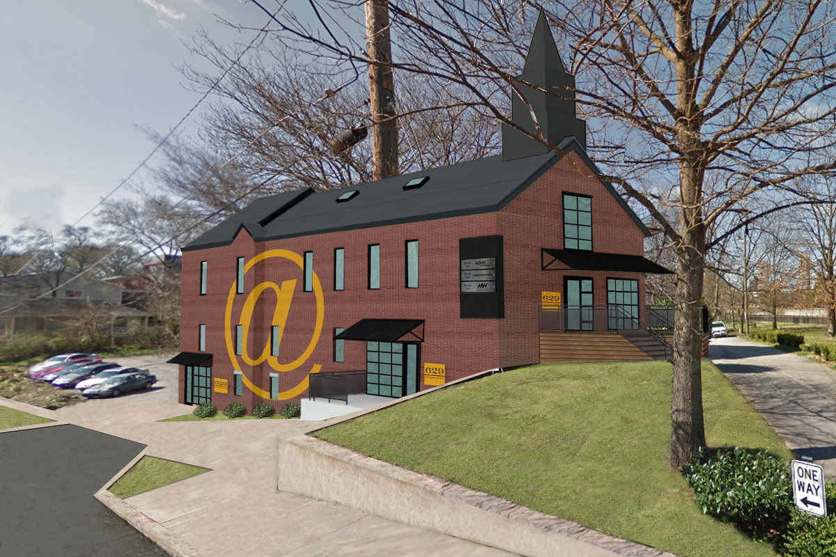 Rendering of church building as office space.