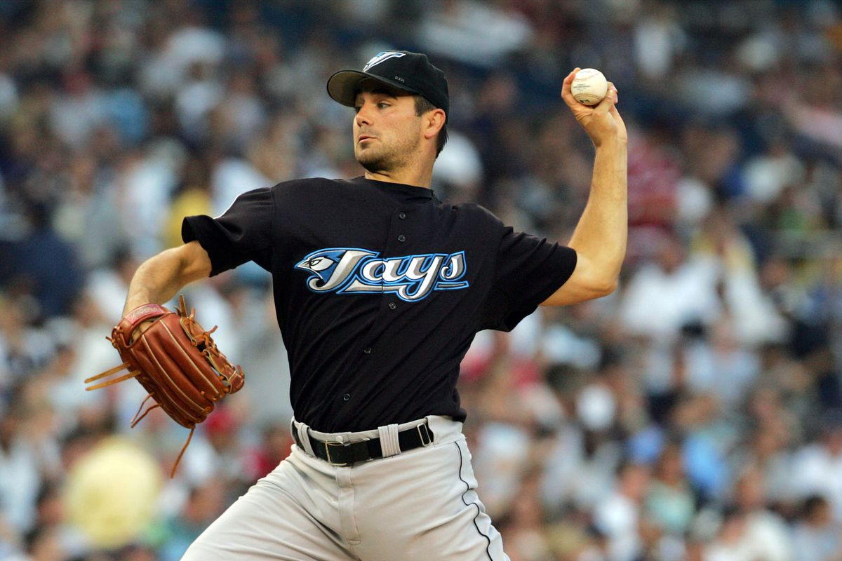Toronto Blue Jays' starting pitcher Ted Lilly pitches agains