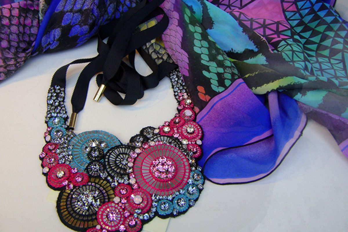 """Scarf and necklace at Matthew Williamson via <a href=""""http://www.flickr.com/photos/jetsetcd/4564895592/in/pool-312691@N20"""">Jetsetcd</a>/Racked Flickr Pool"""