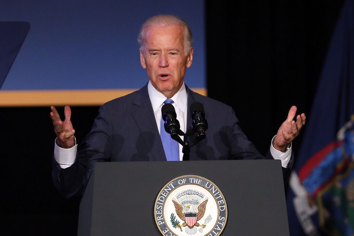Vice President Joe Biden speaks at an event attended by New York Gov. Andrew Cuomo to unveil plans for new area infrastructure projects on July 27, 2015, in New York City.