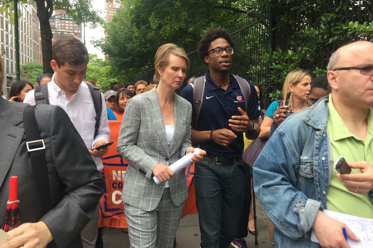 Gubernatorial candidate Cynthia Nixon walks away from a speech at Borough of Manhattan Community College.