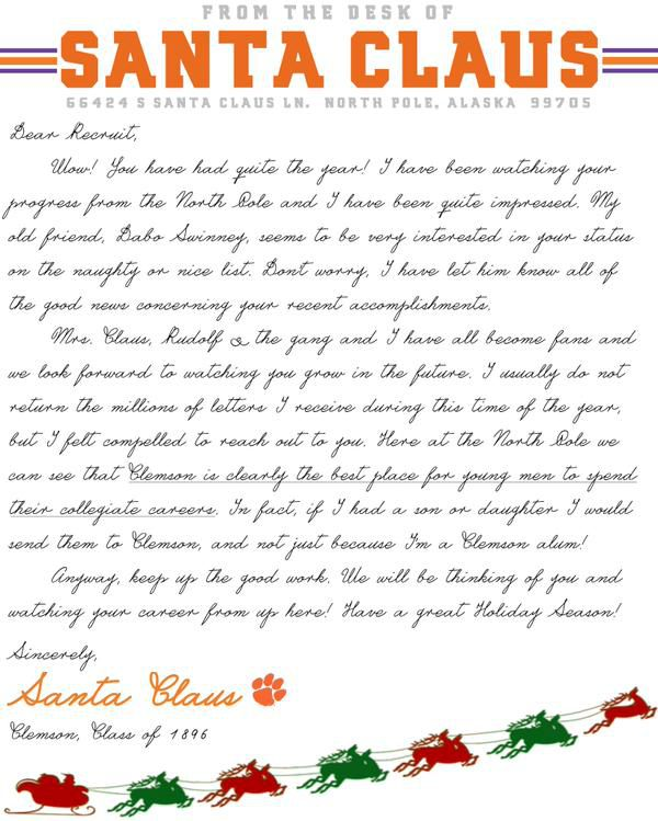 santa claus is a clemson alum, recruiting letter reveals - sbnation