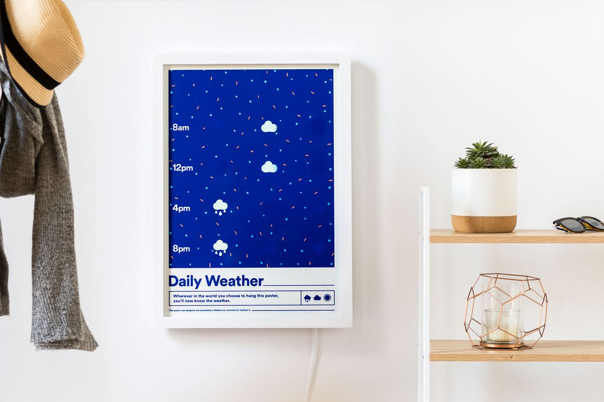 Blue digital poster hanging on wall
