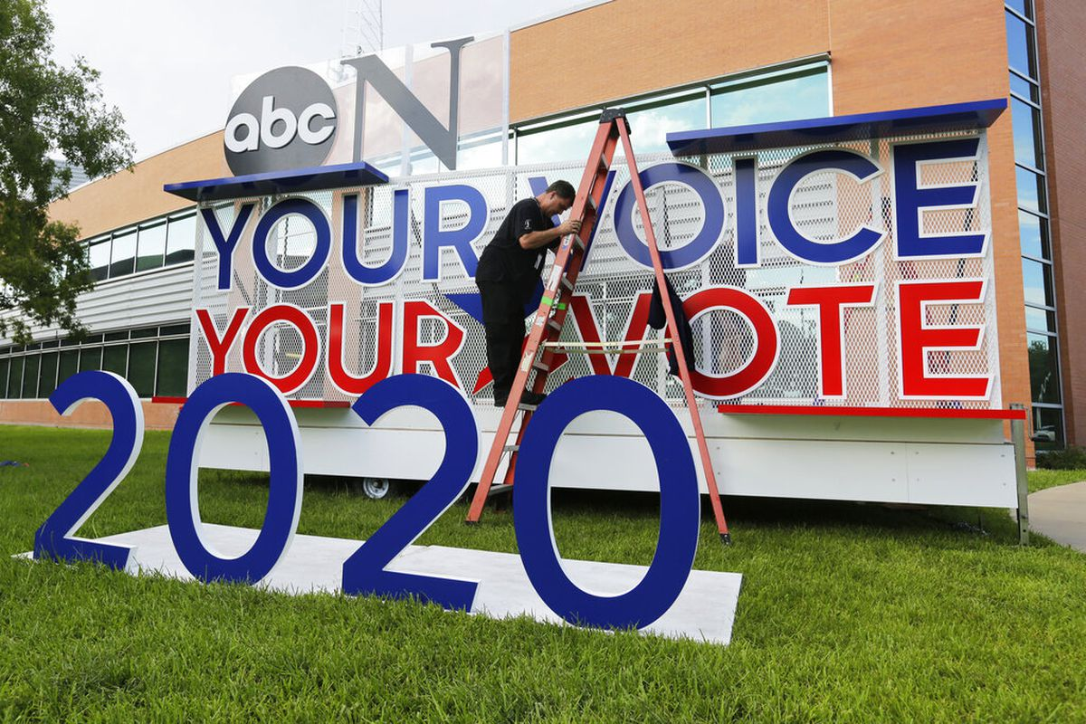 Signage is erected for the upcoming Democratic presidential primary debates hosted by ABC on the campus of Texas Southern University