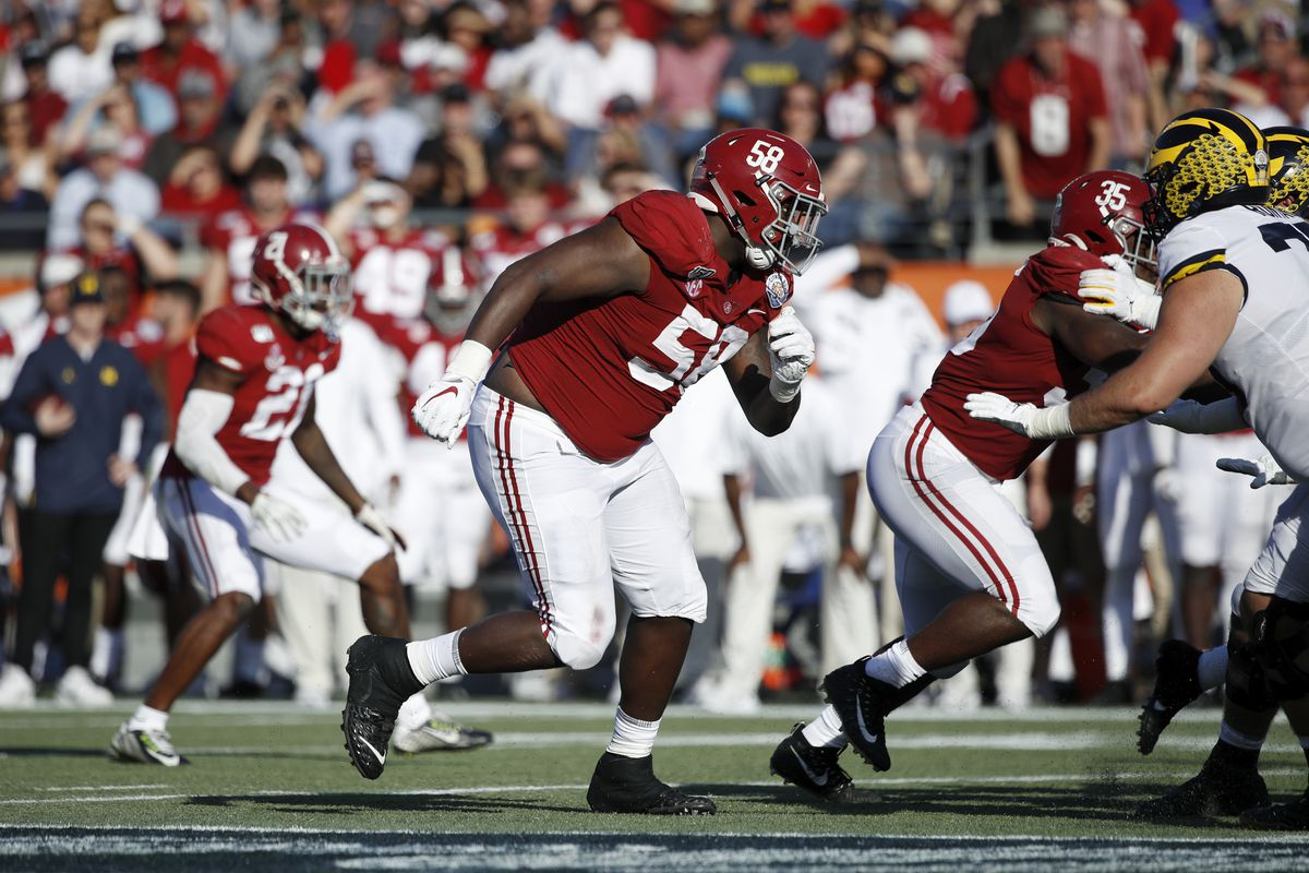 Christian Barmore of the Alabama Crimson Tide in action on defense during the Vrbo Citrus Bowl against the Michigan Wolverines at Camping World Stadium on January 1, 2020 in Orlando, Florida. Alabama defeated Michigan 35-16.