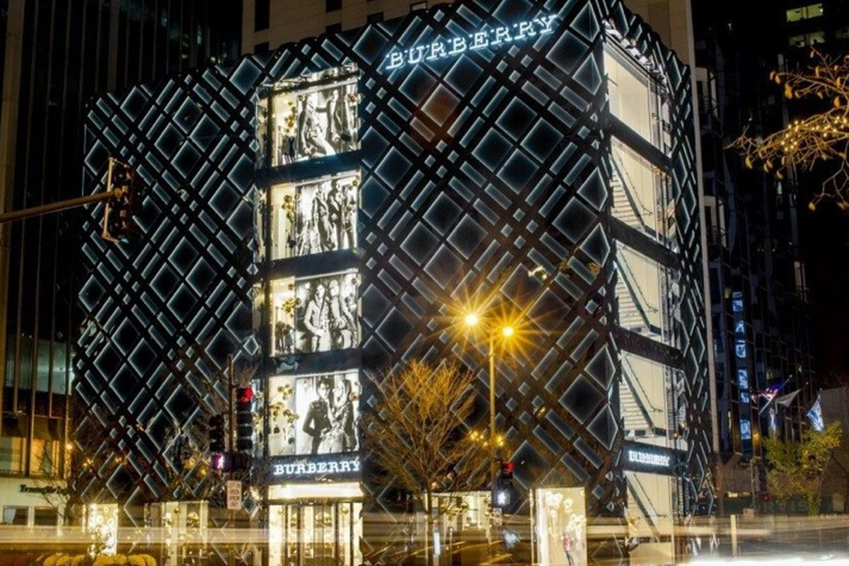 """The Burberry flagship """"theater"""" in all its glory, via Racked Chicago"""