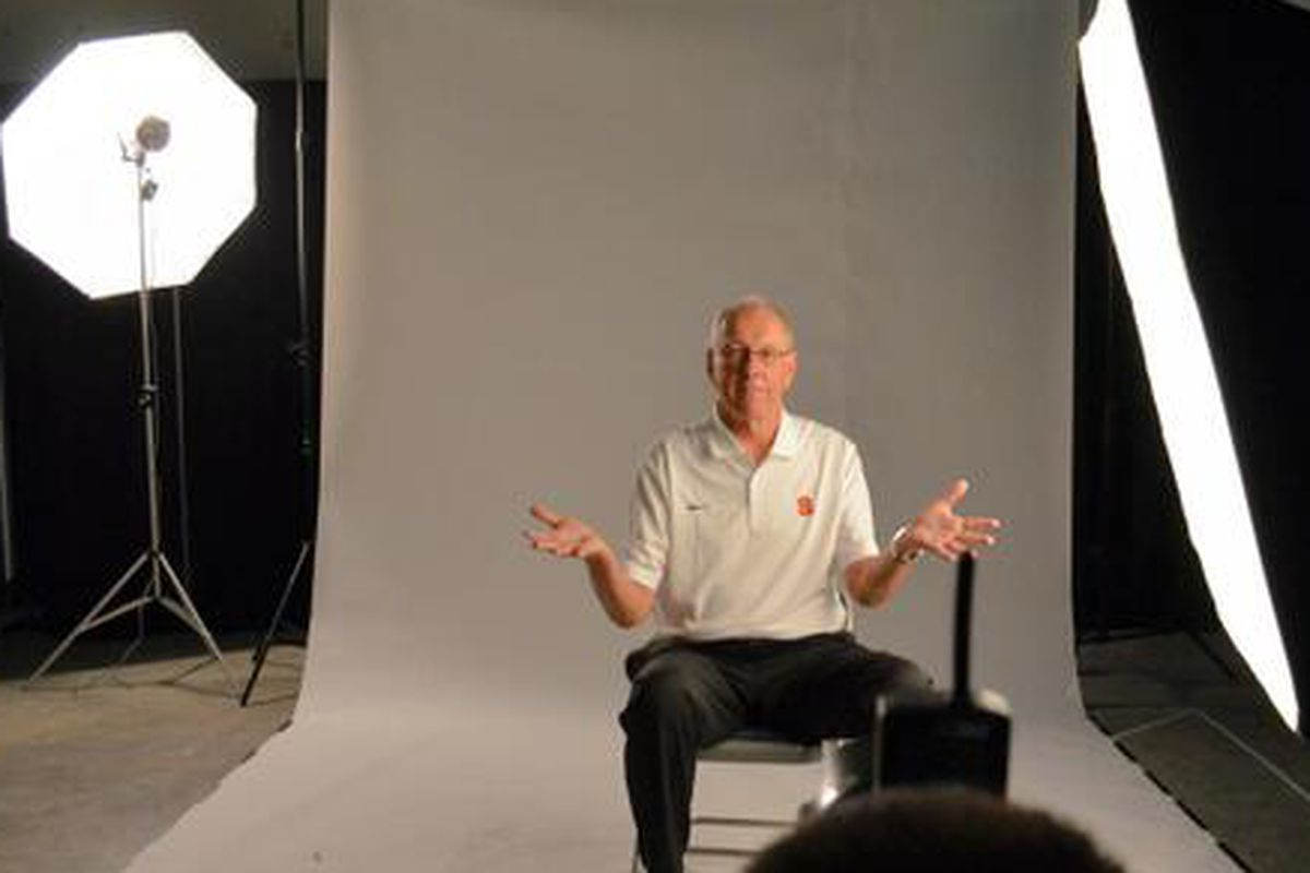 Coach Boeheim ready for the @Cuse basketball closeup at #ACCMediaDay pic.twitter.com/891icMYjiM