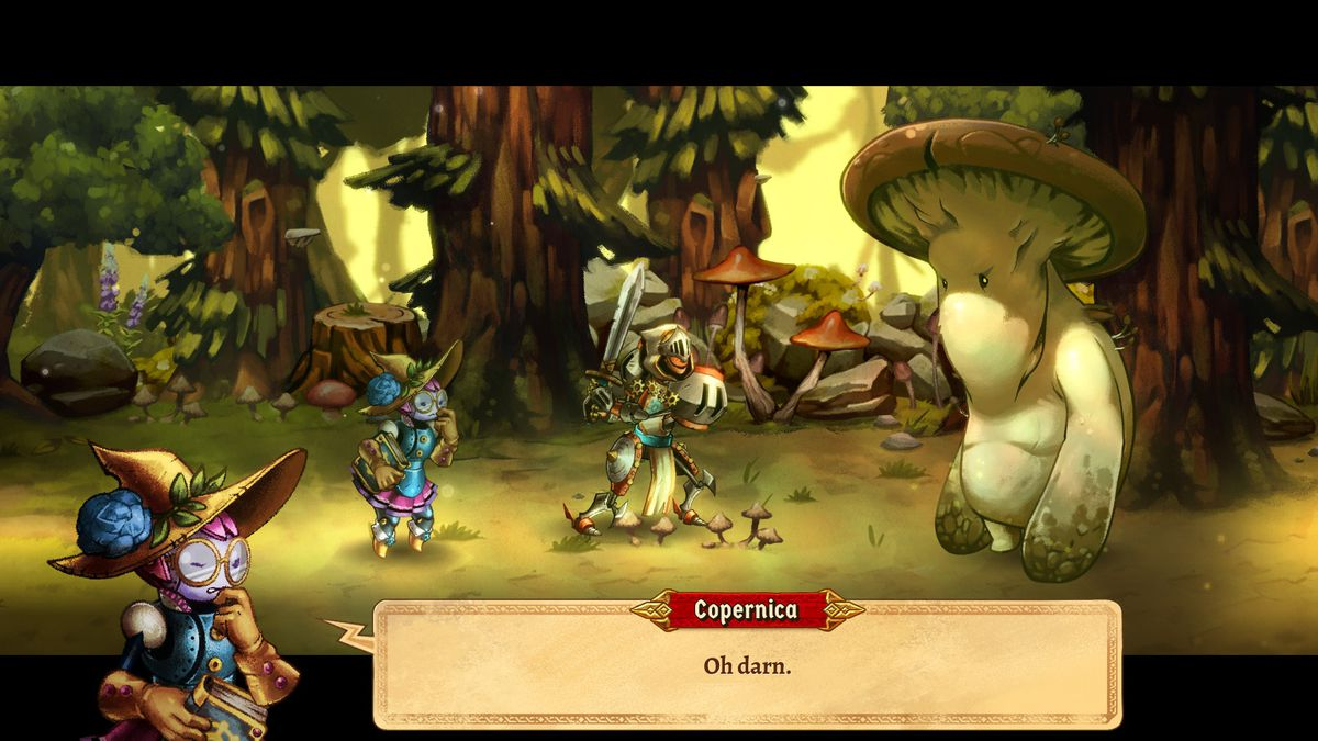 Heroes fight an evil, giant mushroom in SteamWorld Quest