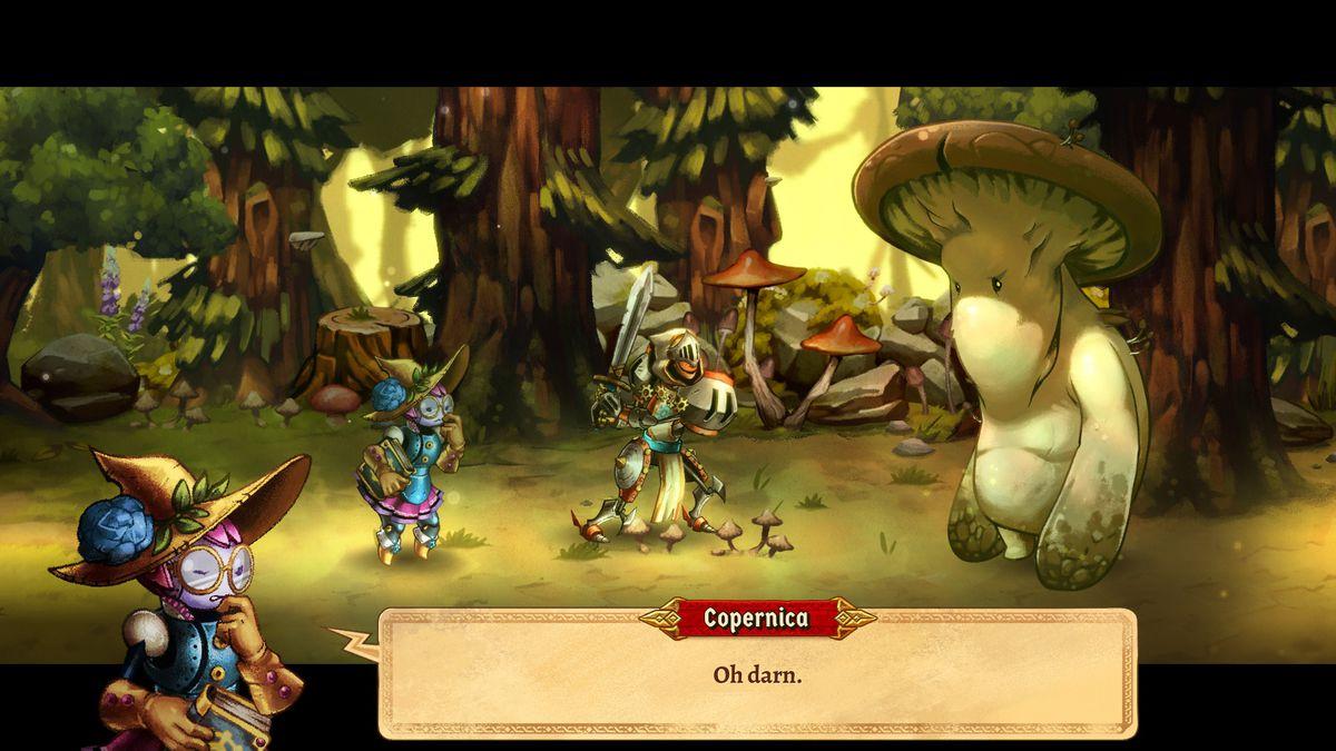 Герои сражаются со злым гигантским грибом в SteamWorld Quest