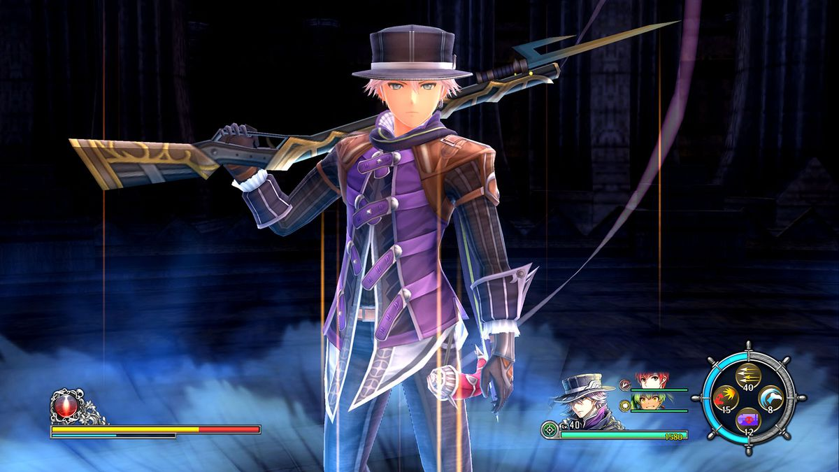 This screenshot from Ys 8: Lacrimosa of Dana features playable character Hummel. He appears to be standing in some ruins and is surrounded by a mysterious blue energy.