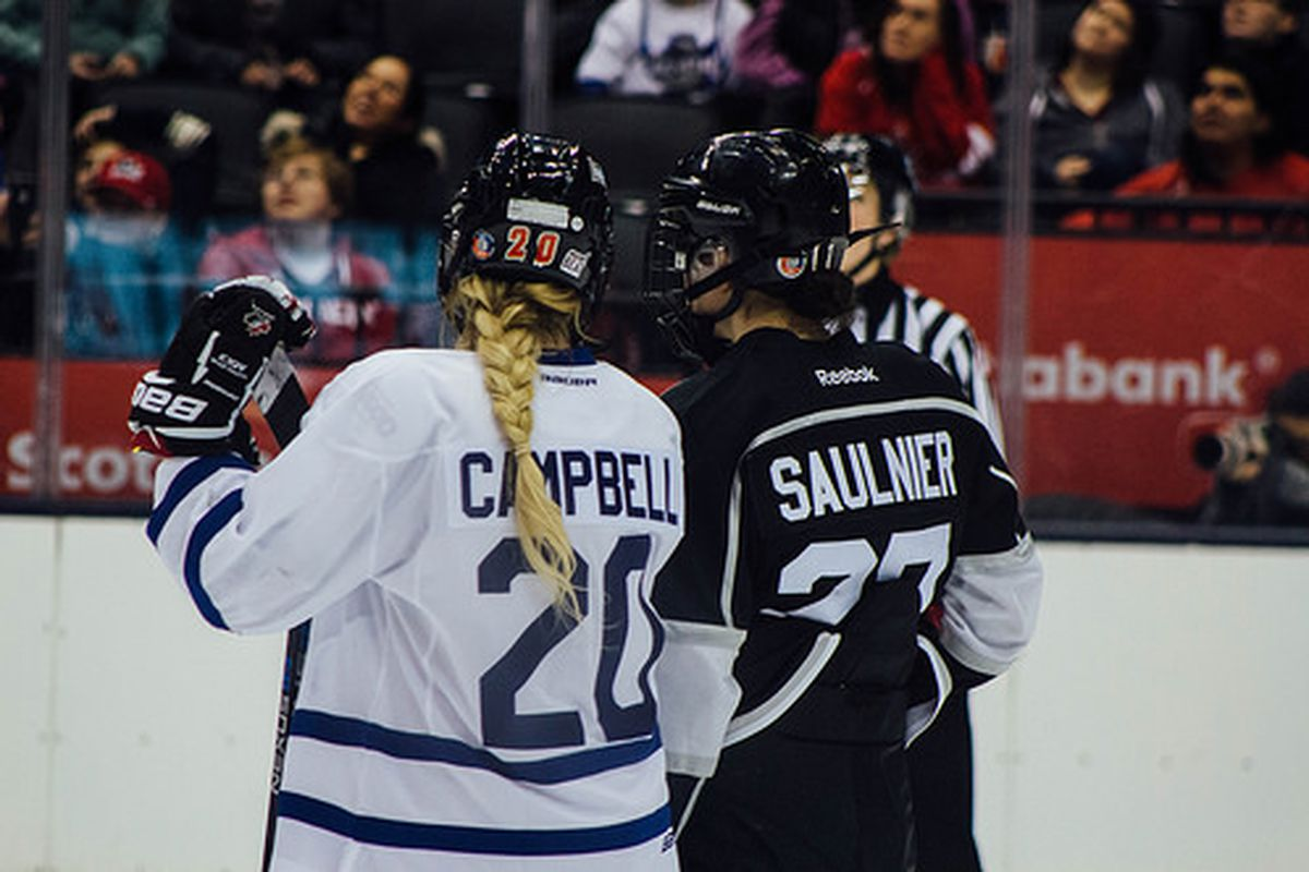 Usually teammates, Jessica Campbell (left) and Jillian Saulnier were opponents Saturday afternoon at the Air Canada Centre for the CWHL All-Star Game. Saulnier's Team Black edged out Campbell's Team White, 5-1.