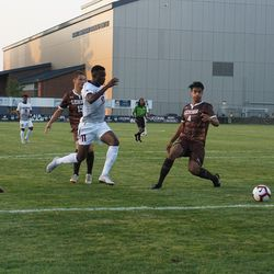 The Lehigh Mountain Hawks take on the UConn Huskies in a men's college soccer game at Morrone Stadium in Storrs, CT on August 24, 2018.