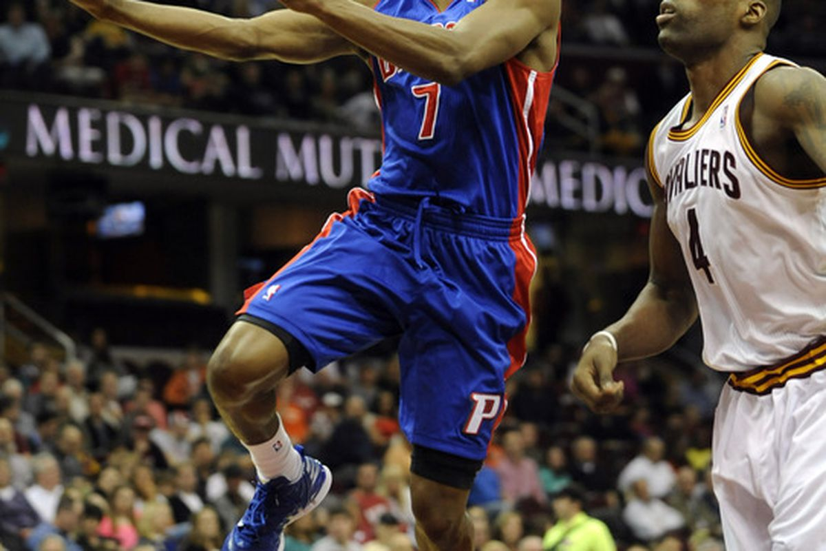 Mar 28, 2012; Cleveland, OH, USA; Detroit Pistons point guard Brandon Knight (7) drives past Cleveland Cavaliers power forward Antawn Jamison (4) in the first quarter at Quicken Loans Arena. Mandatory Credit: David Richard-US PRESSWIRE