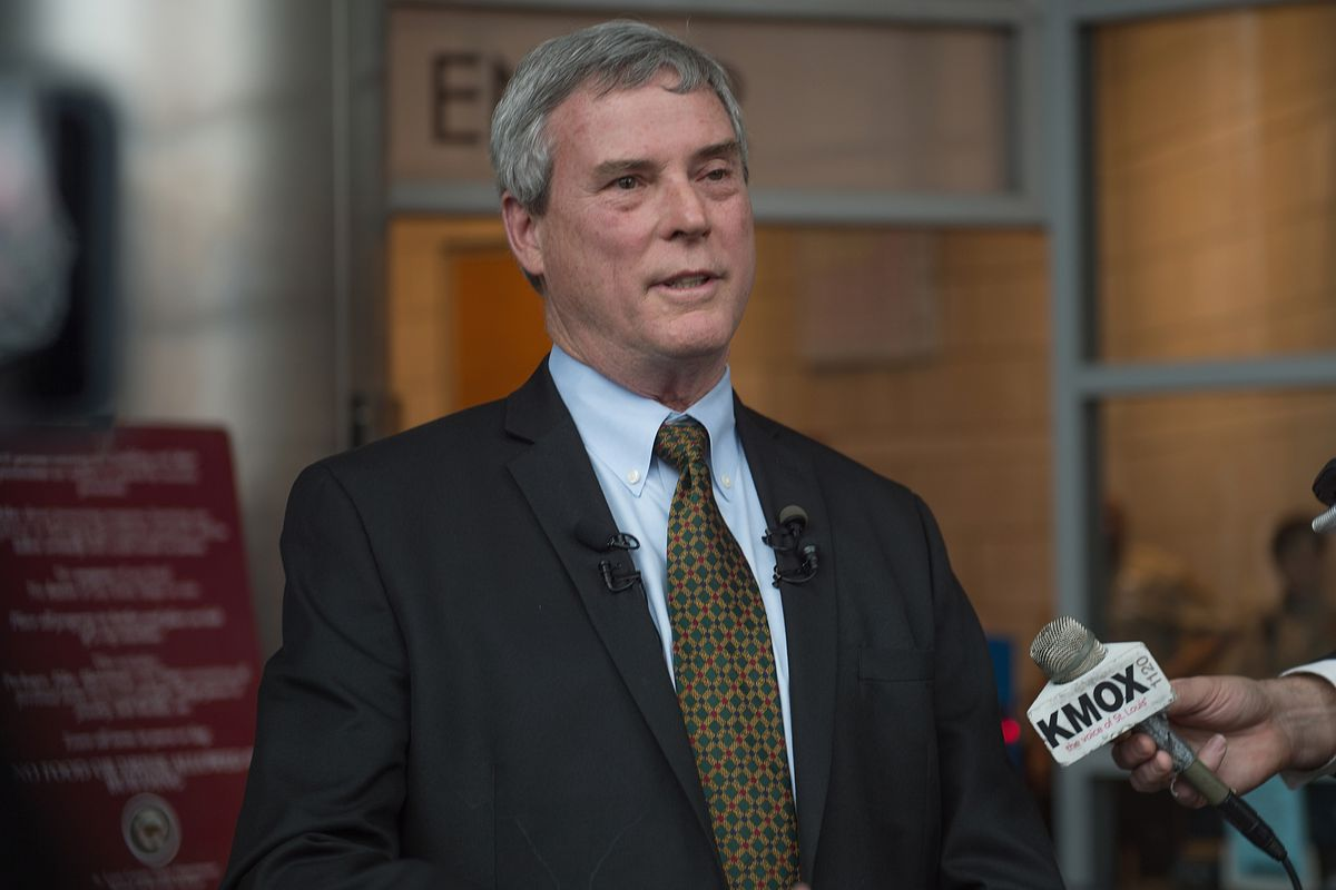 St. Louis County Prosecuting Attorney Bob McCulloch speaks to reporters at a news conference.