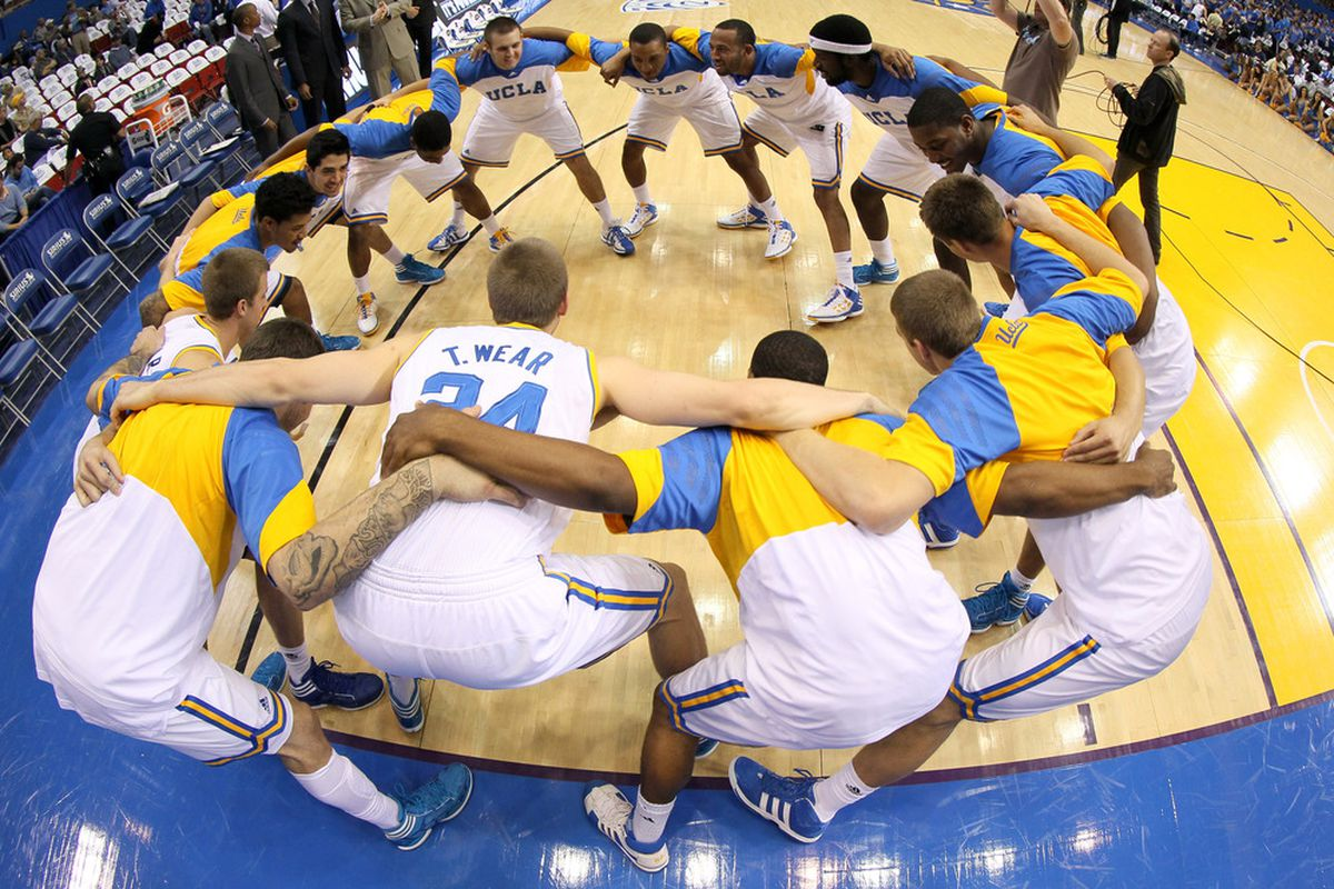 LOS ANGELES, CA - DECEMBER 03:    The UCLA Bruins huddle prior to the tipoff of the game against the Texas Longhorns at LA Sports Arena on December 3, 2011 in Los Angeles, California. Texas won 69-59.   (Photo by Stephen Dunn/Getty Images)