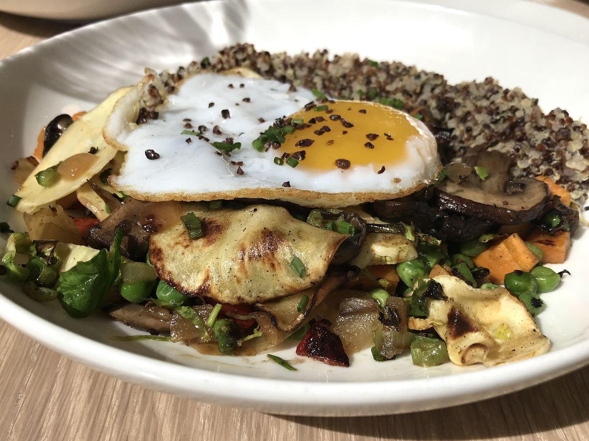 Veggie hash with a sunny egg and quinoa