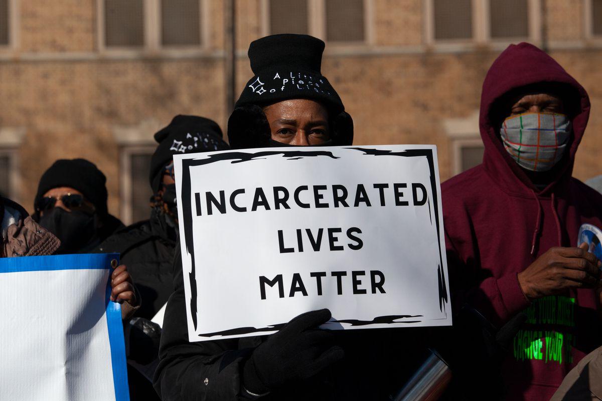 Criminal justice reform advocates rally outside Washington Height's Edgecombe Correctional Facility, Feb. 8, 2021.