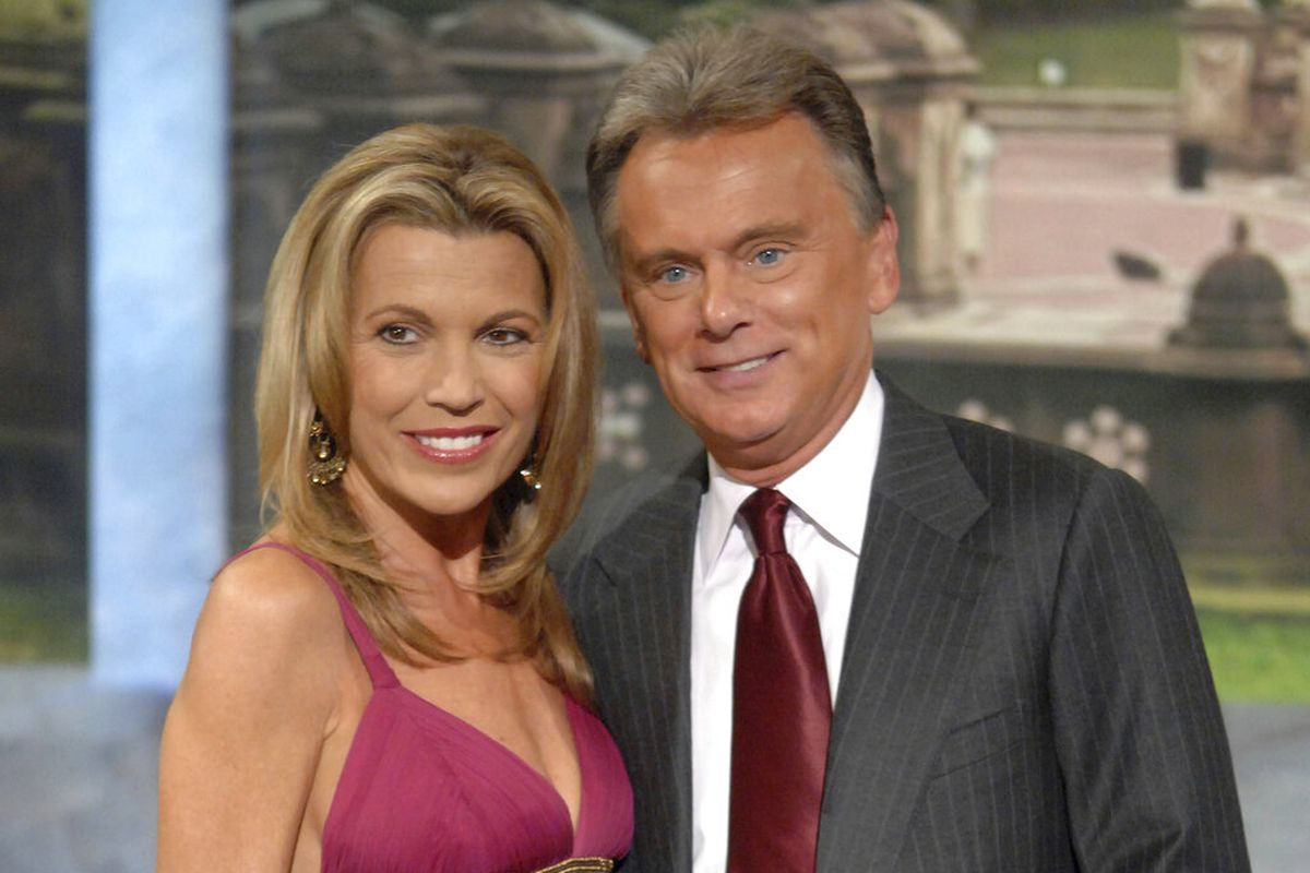 """Co-host Vanna White and host Pat Sajak make an appearance at Radio City Music Hall for a taping of celebrity week on """"Wheel of Fortune"""" in New York"""