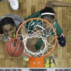 Baylor guard Terran Condrey (20) and Notre Dame guard Whitney Holloway (3) vie for a loose ball during the second half in the NCAA Women's Final Four college basketball championship game, in Denver, Tuesday, April 3, 2012.  Baylor won the championship 80-61. (AP Photo/Eric Gay)