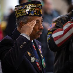 Past Commander of the Illinois 5th District Anthony Bingham III during the National Anthem at Soldier Field on Monday, Nov. 11, 2019.