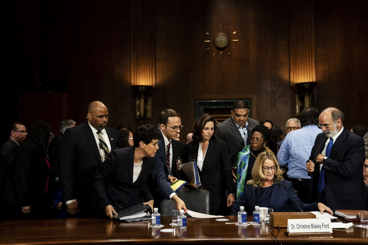 September 27: Christine Blasey Ford prepares for a break during her testimony before the Senate Judiciary Committee about sexual assault allegations against Supreme Court nominee Judge Brett M. Kavanaugh. Read More. (Erin Schraff/AFP/Getty Images)
