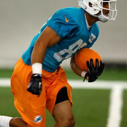 Jul 21, 2013; Davie, FL, USA;  Miami Dolphins wide receiver Jasper Collins (83) during  training camp at the Doctors Hospital Training Facility at Nova Southeastern University.