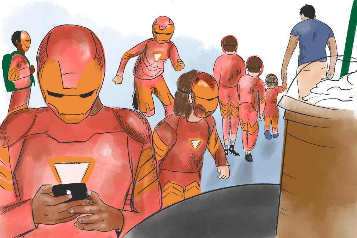An illustration of children dressed in Iron Man costumes at a Starbucks.