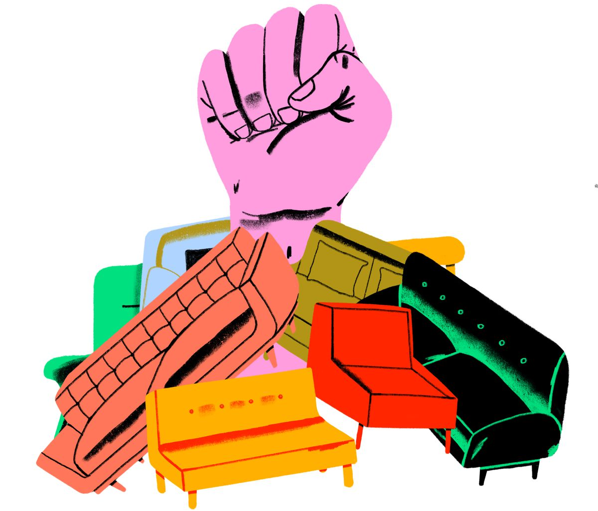A giant hot pink fist punches through a pile of colorful sofas. Illustration.