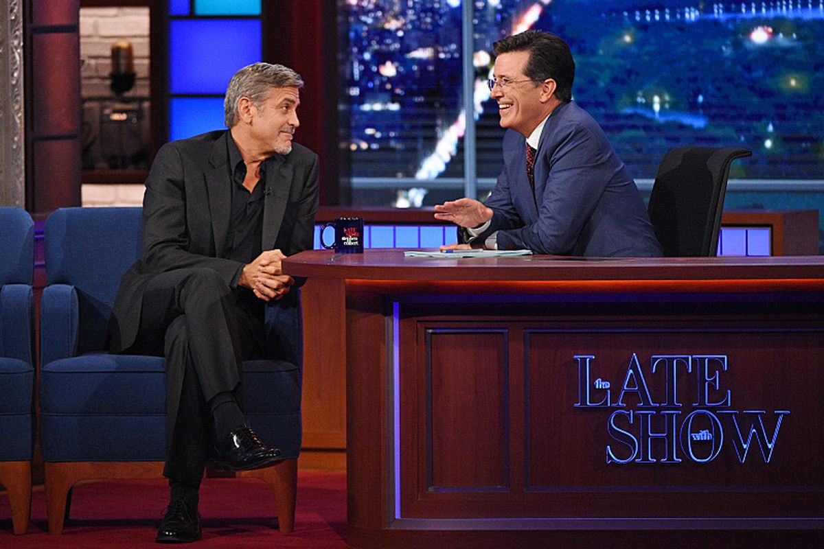 George Clooney and Stephen Colbert. Just hangin' out. Like you do.