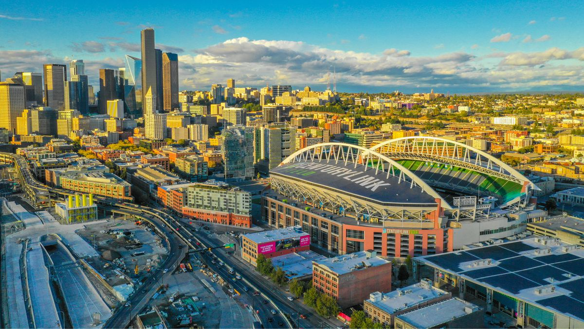 An aerial view of CenturyLink Field, where the Seahawks and Sounderss play, and fans can stuff themselves.