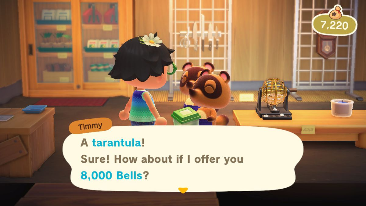 One of the Nook sons explaining the price of tarantulas in Animal Crossing: New Horizons
