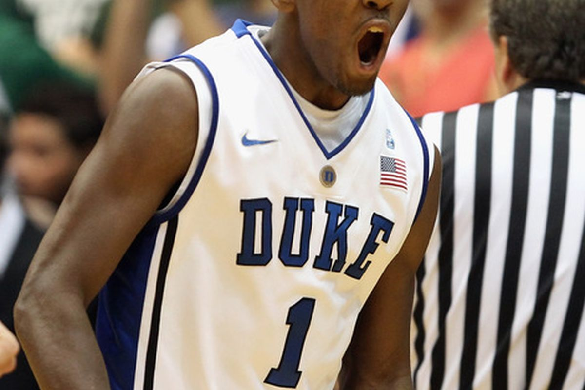 DURHAM NC - DECEMBER 01:  Kyrie Irving #1 of the Duke Blue Devils celebrates during their game against the Michigan State Spartans at Cameron Indoor Stadium on December 1 2010 in Durham North Carolina.  (Photo by Streeter Lecka/Getty Images)