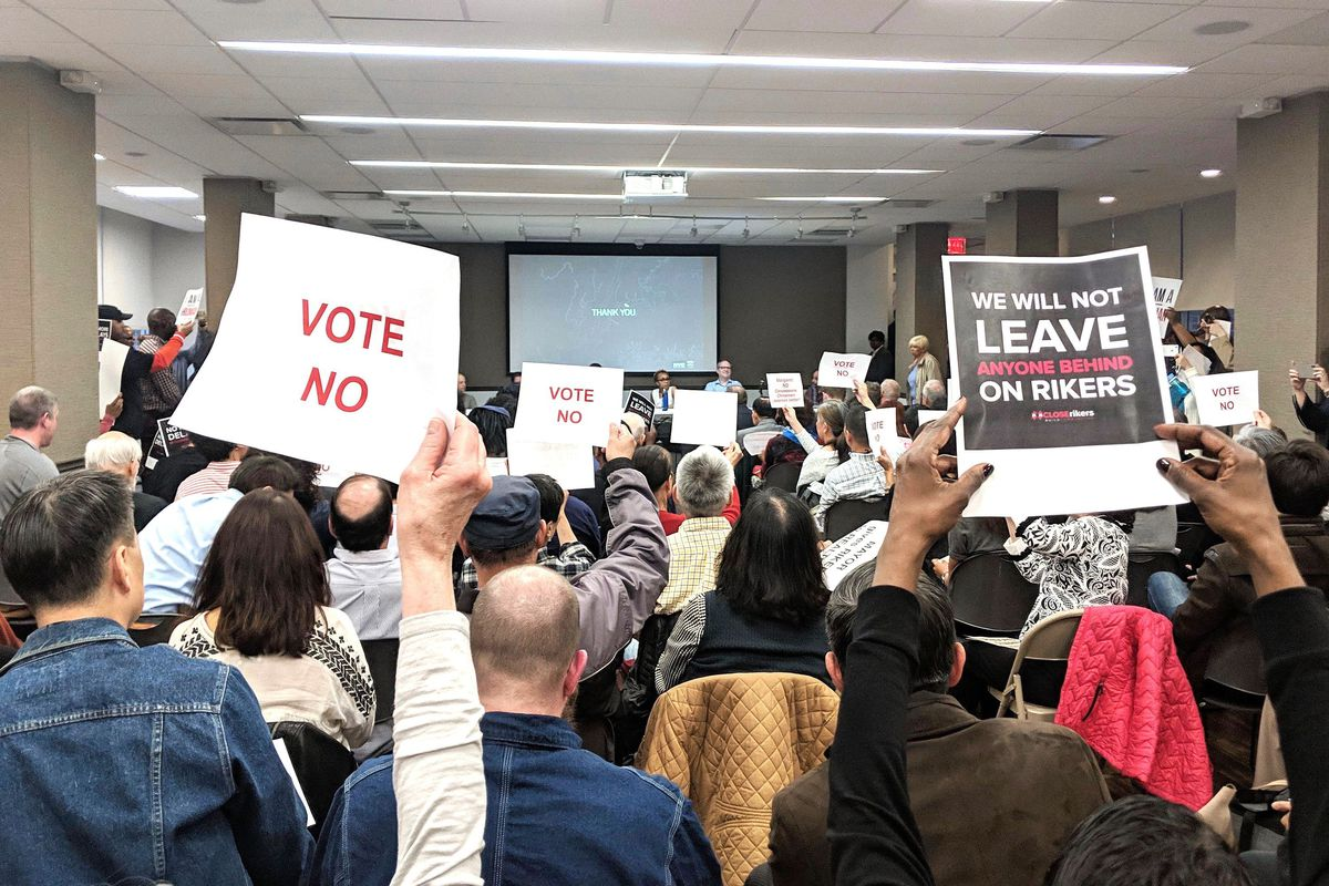 Both opponents and supporters of a plan to build four new jails and close Rikers Island voiced their concerns at a contentious Manhattan Community Board 1 meeting, April 8, 2019.