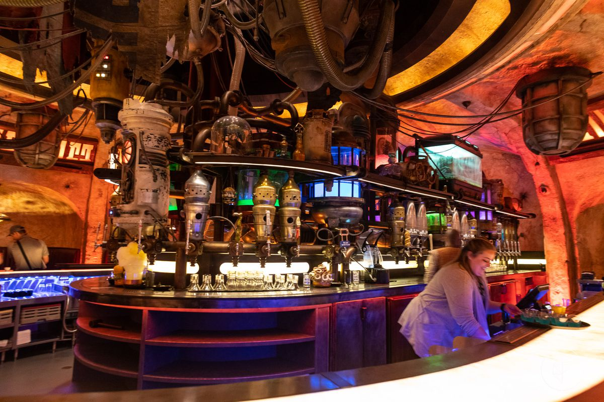 Inside Oga's Cantina in Anaheim, California the back of the bar looks straight out of Mos Eisley, including tureens that look like the heads of IG-series droids — just like in the original movie.