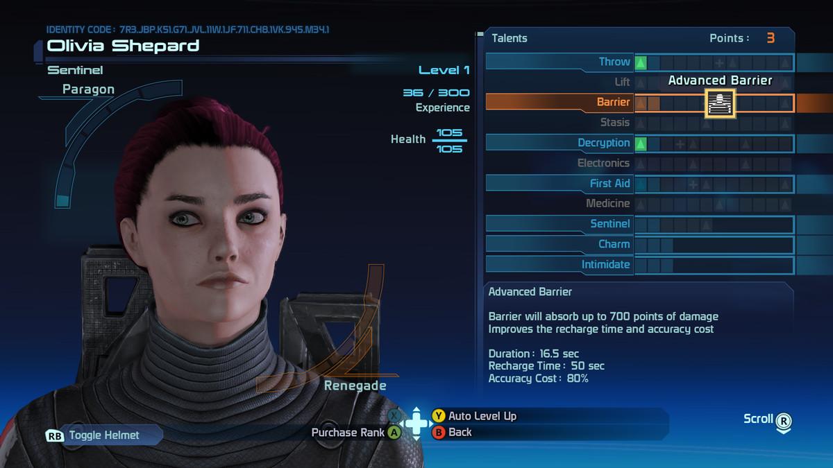 Mass Effect level up screen