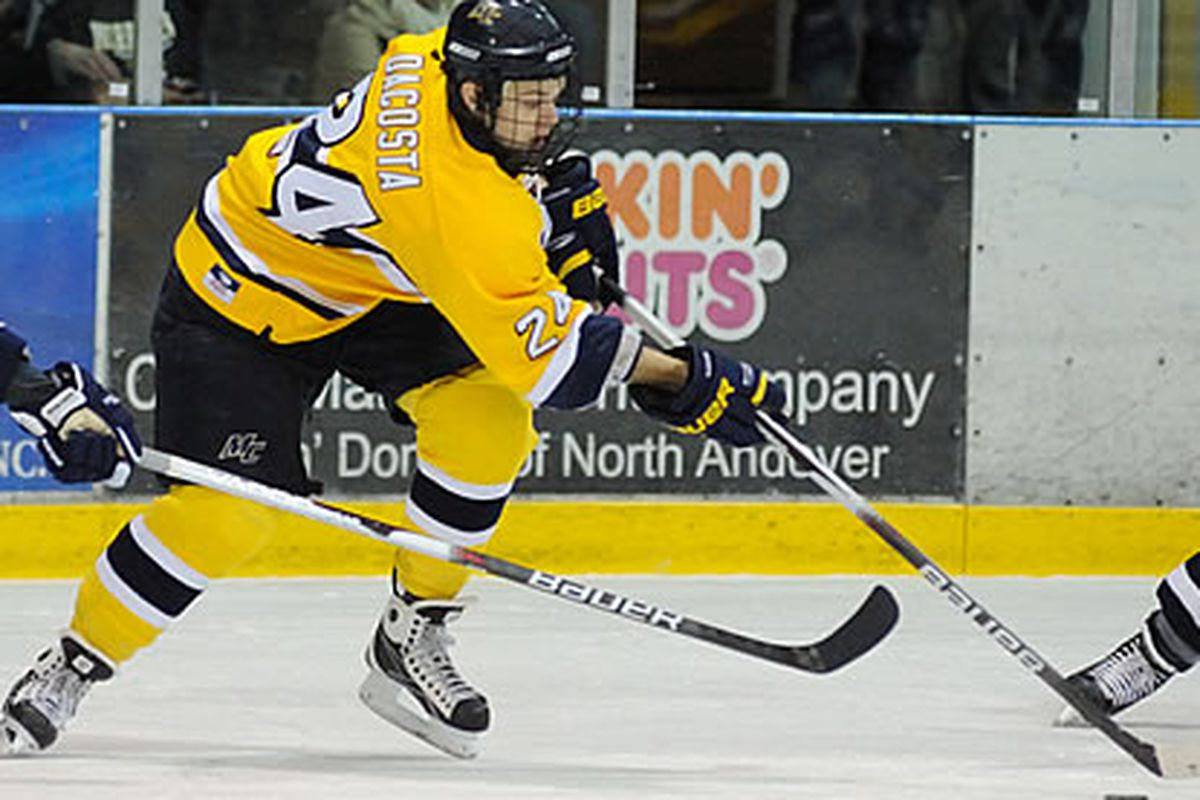 Merrimack's Stephane DaCosta is leading a sea change for the Warriors, who have experienced seasons of frustration in Hockey East. (Photo courtesy of Hockey East)