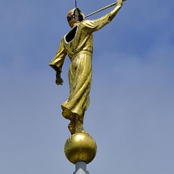 About 2:12 lightning struck Moroni on the Bountiful Temple blowing off part of his head and the shoulder blade section of his back.