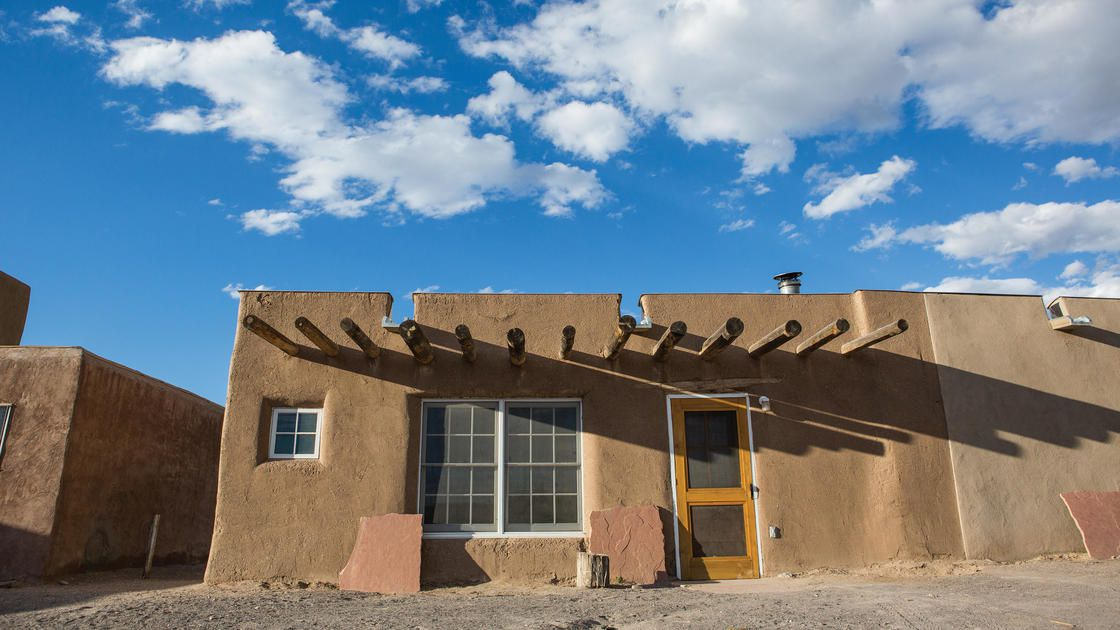 A restored pueblo-stylke dwelling in New Mexico.