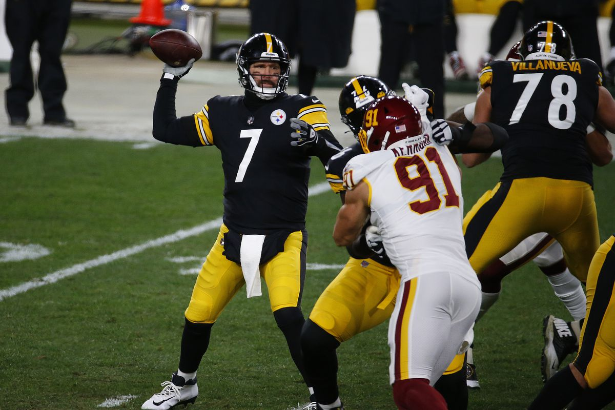 Ben Roethlisberger #7 of the Pittsburgh Steelers in action against the Washington Football Team on December 8, 2020 at Heinz Field in Pittsburgh, Pennsylvania.