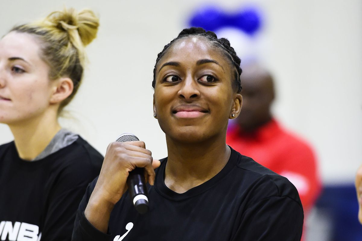 Nneka Ogwumike of the Los Angeles Sparks attends the Jr. NBA Day during the 2020 Jr. NBA Day presented by Under Armour on February 14, 2020 at Navy Pier in Chicago, Illinois.
