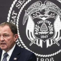 Gov. Gary Herbert talks about the importance of wearing a mask and the state's efforts to fight COVID-19 during a briefing at the Capitol in Salt Lake City on Wednesday, June 24, 2020.