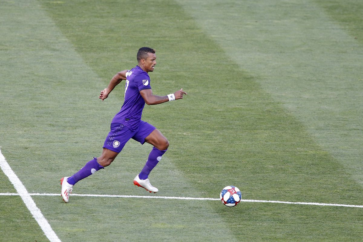 Nani of the Orlando City SC brings the ball up in the game against the Columbus Crew SC at MAPFRE Stadium on June 29, 2019 in Columbus, Ohio.