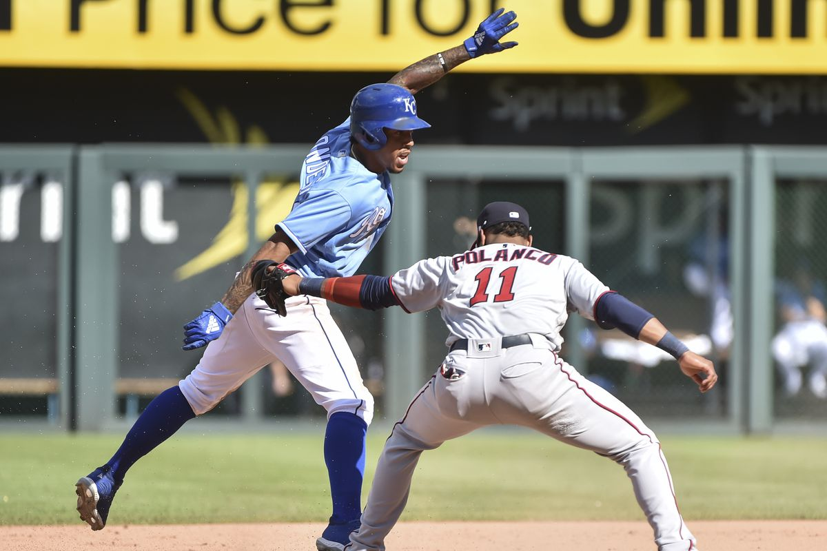 2b4a6e129 Adalberto Mondesi  27 of the Kansas City Royals stands up on second for a  steal past the tag of shortstop Jorge Polanco  11 of the Minnesota Twins in  the ...